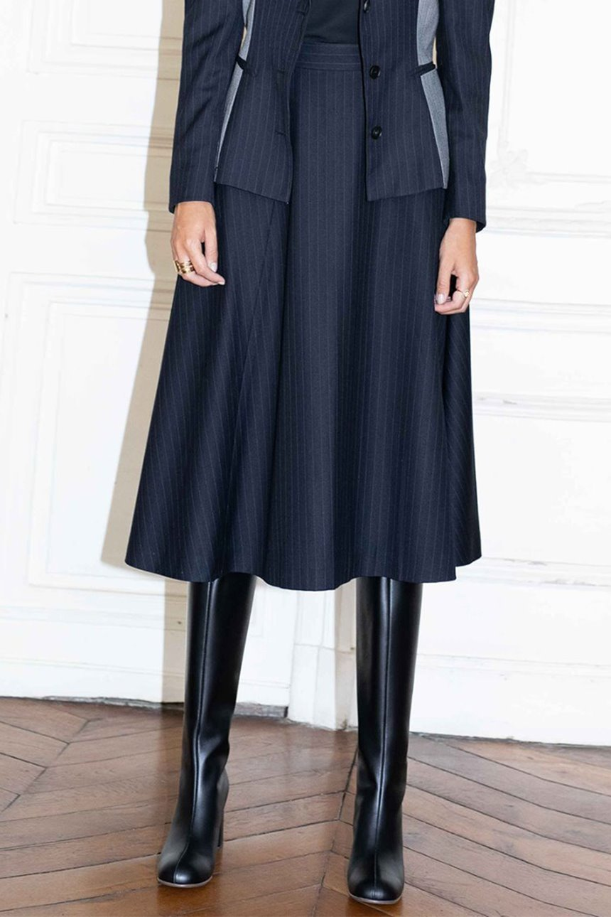 CHAMPS ELYSEES flared belted skirt (Navy pin stripe)