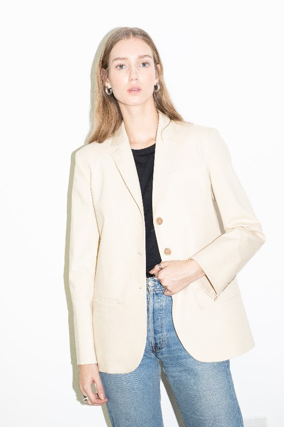 BEVERLY HILLS relaxed fit single button blazer (Light beige)