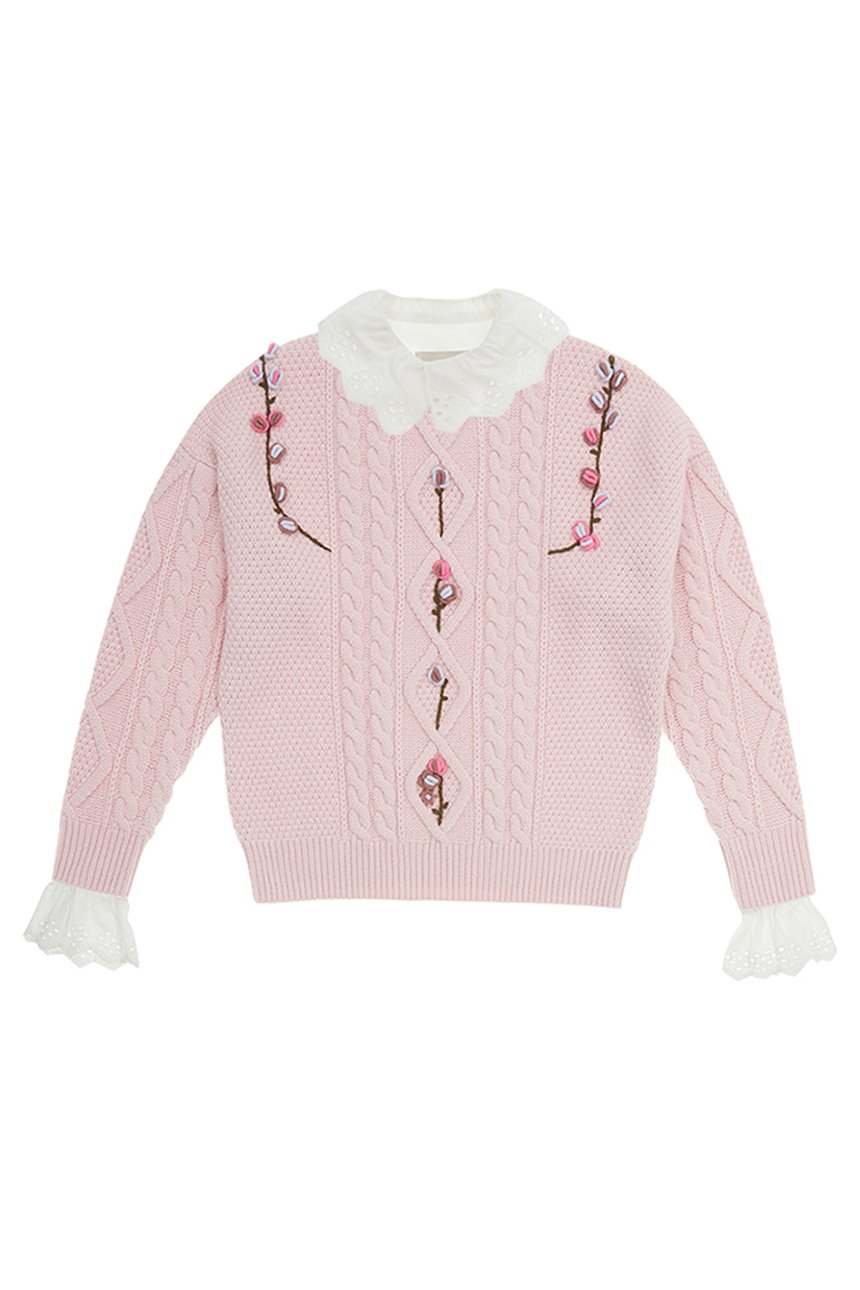 [SET][1/22예약배송][한지민착용]APGUJEONG Ruffled eyelet collar blouse (Off white) & CAMELLIA cable flower sweater (Baby pink)