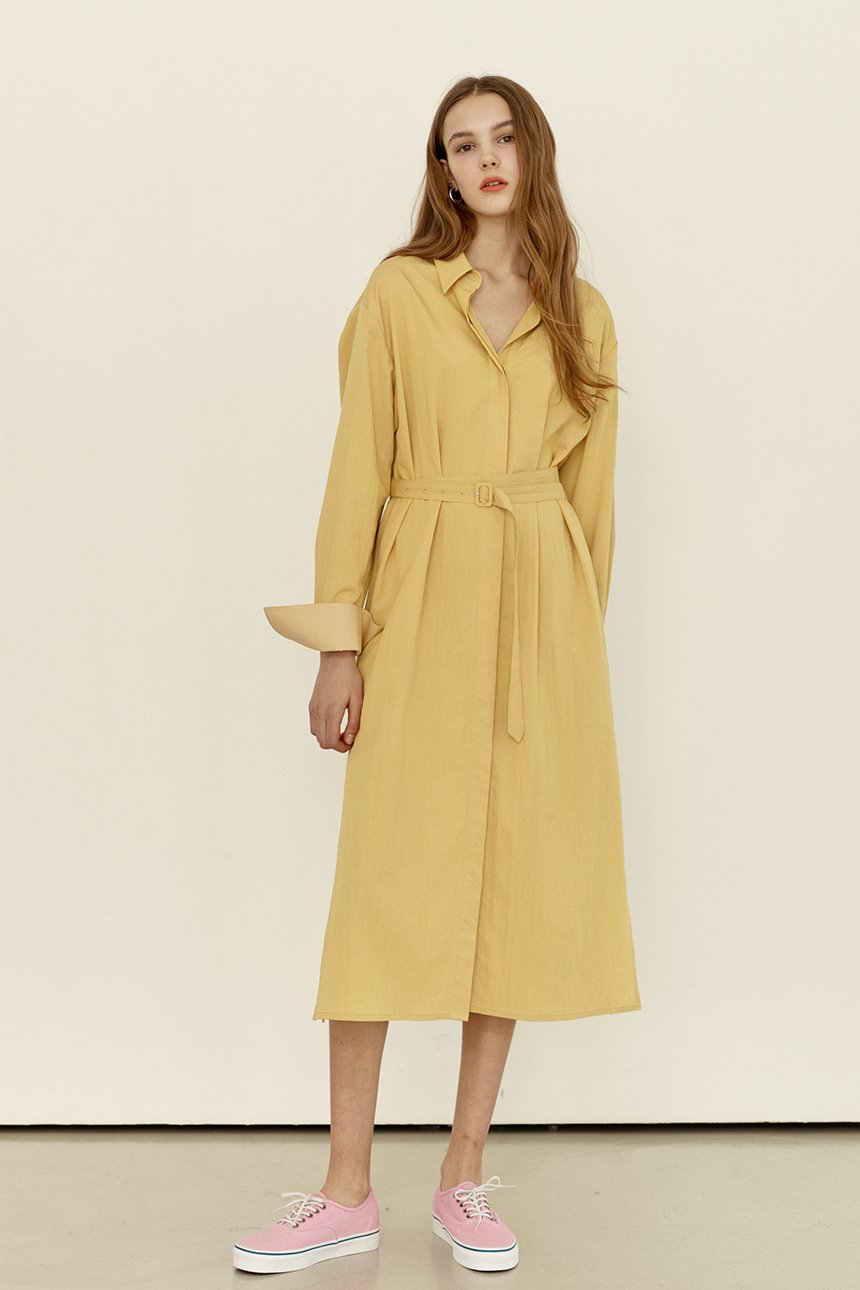 AEWOL Oversized shirt dress (Yellow)