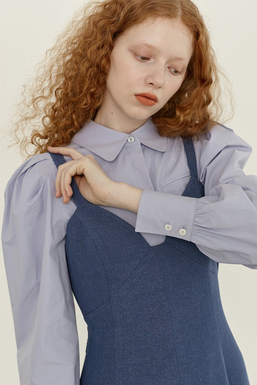 SARABONG Puffed long sleeve blouse (Lilac blue)