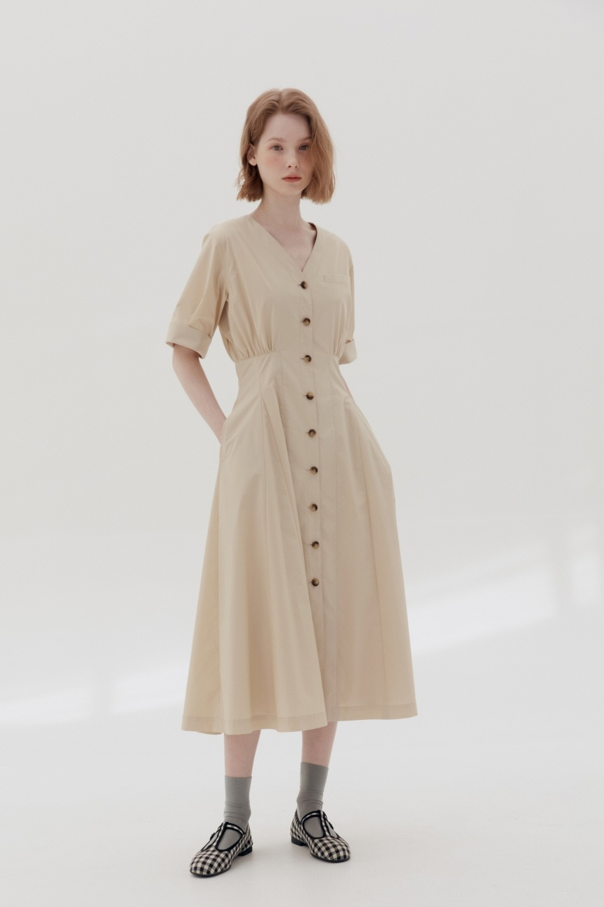 [5/21 예약배송]PYOSEON Waist tuck shirt dress (Light beige)