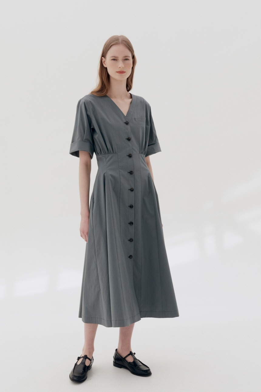 [5/21 예약배송]PYOSEON Waist tuck shirt dress (Charcoal gray)