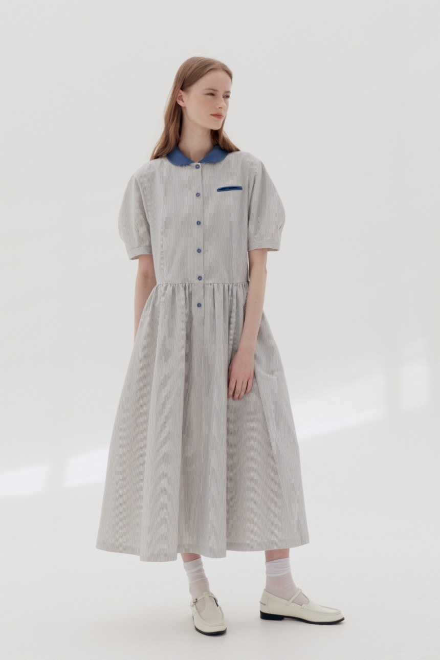 MELROSE Round collar oversized shirt dress (Stripe)