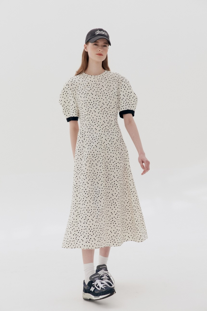 POSITANO Bishop short sleeve dress (Ivory dot)