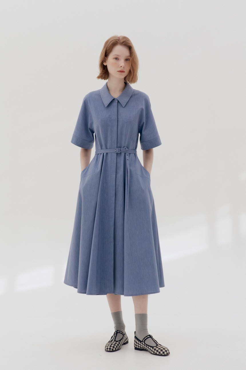 YONGDAM A-line shirt dress (Light denim)