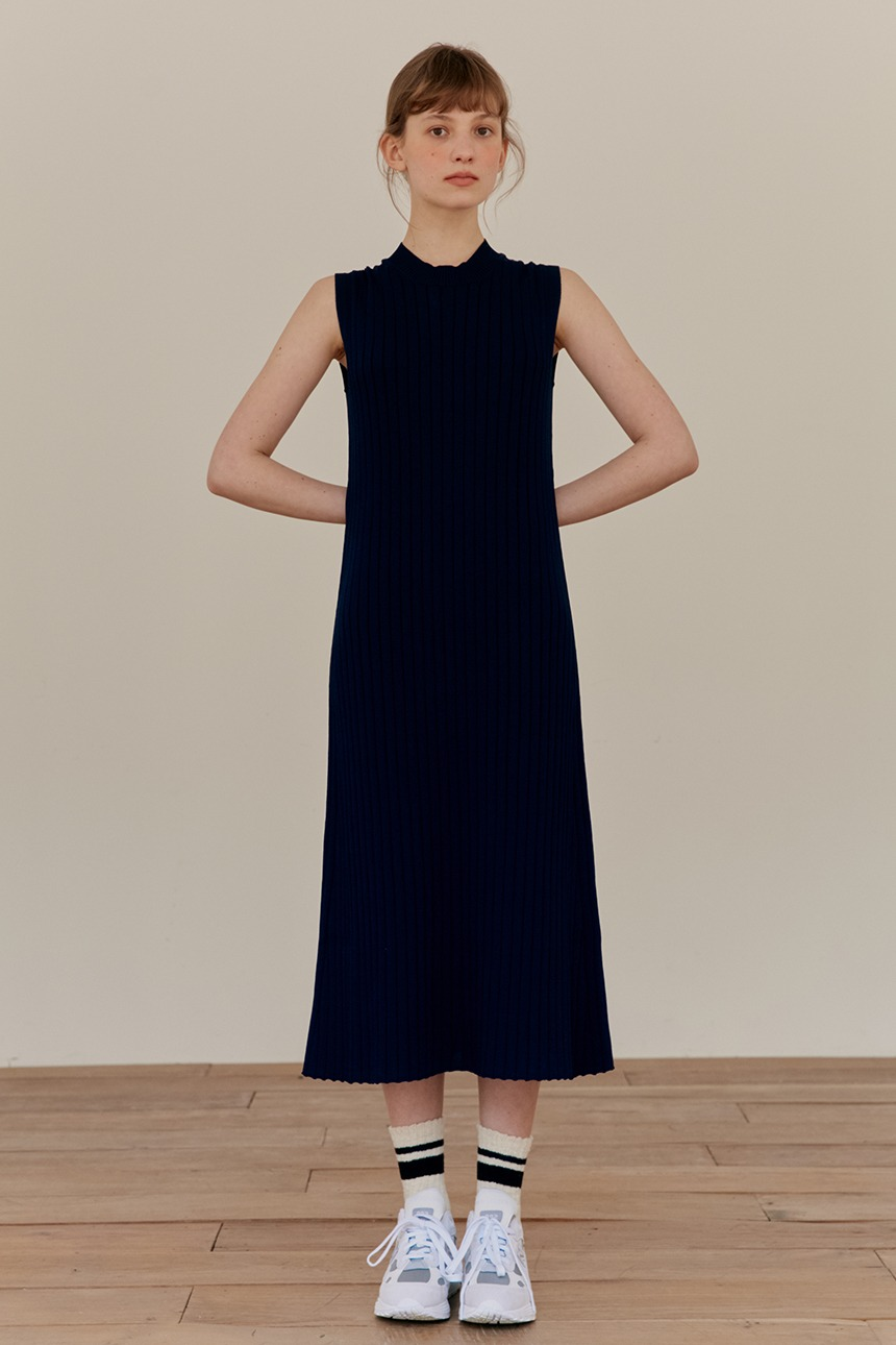[5/21 예약발송]ORCHID Sleeveless maxi ribbed dress (Navy)