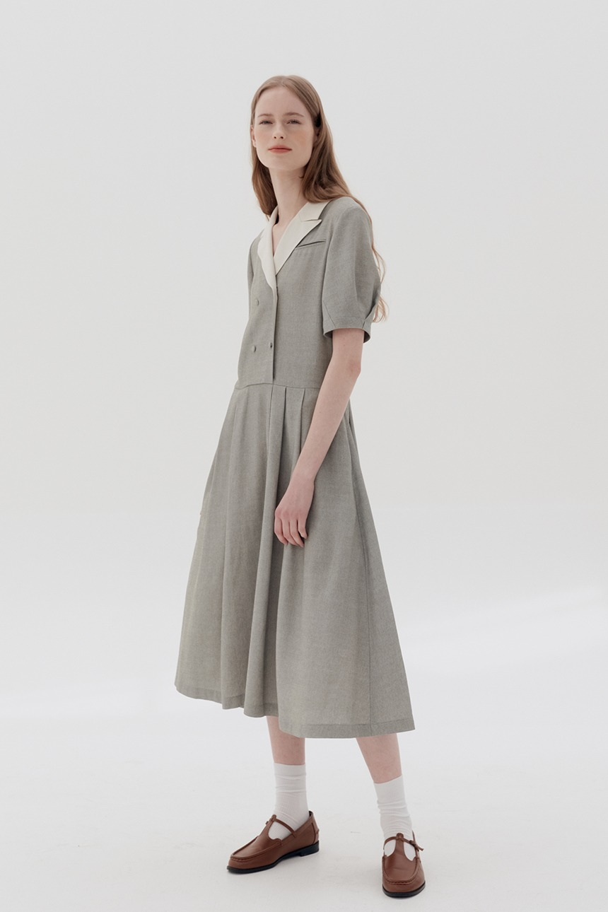 [5/21 예약배송]HYEOPJAE Double breasted notched collar dress (Light khaki)