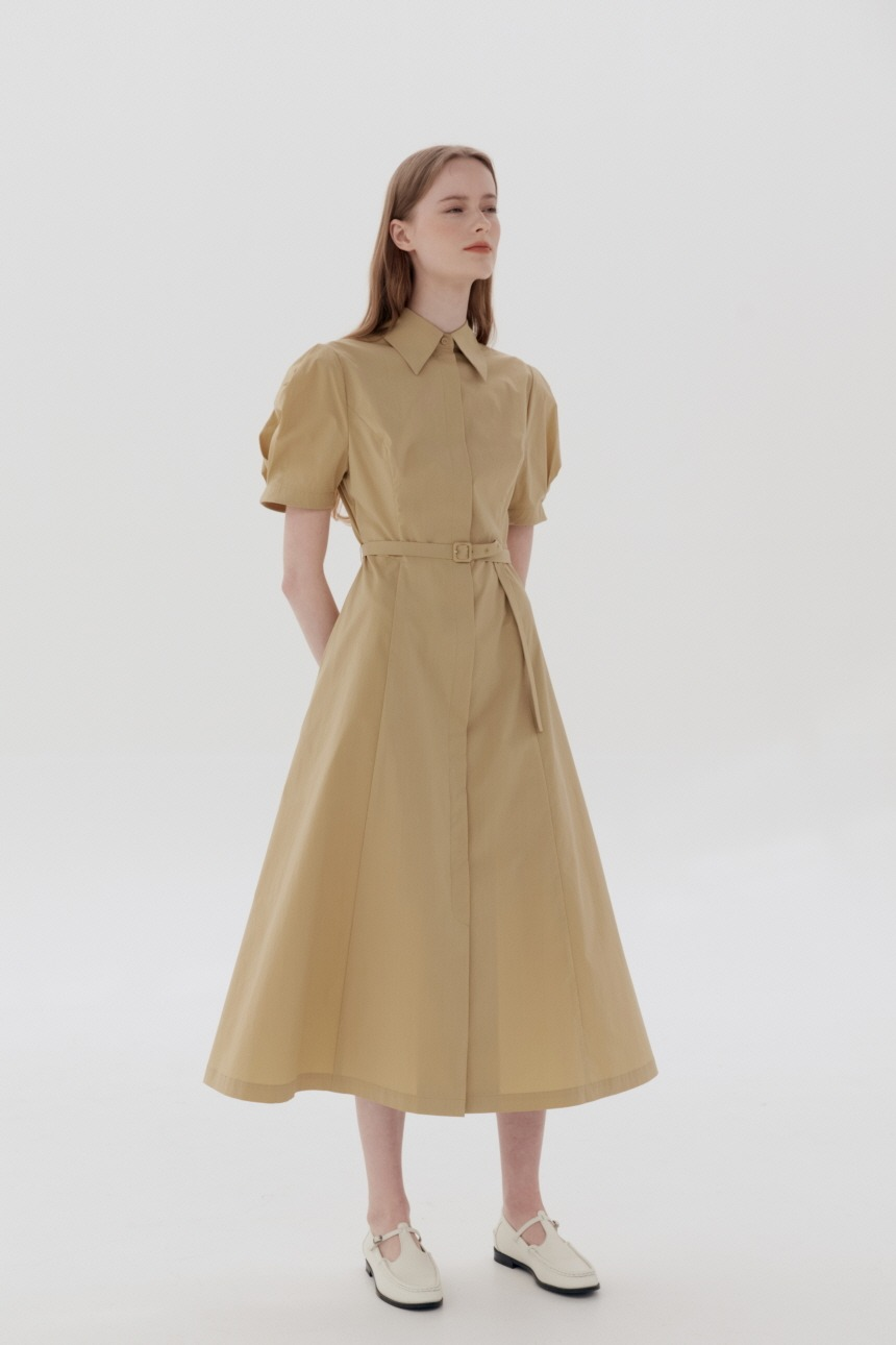 [5/21 예약배송]HANDAM Short sleeve shirt dress (Butter)