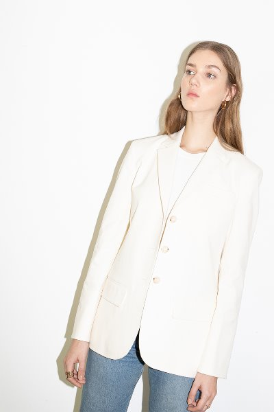 BEVERLY HILLS relaxed fit single button blazer (Cream)