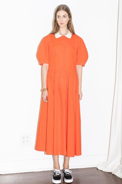 [앤유][이현이 착용]MELROSE round collar over sized shirt dress (Tomato red)