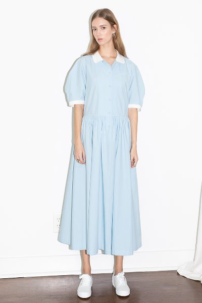 [앤유]MELROSE round collar over sized shirt dress (Sky blue)