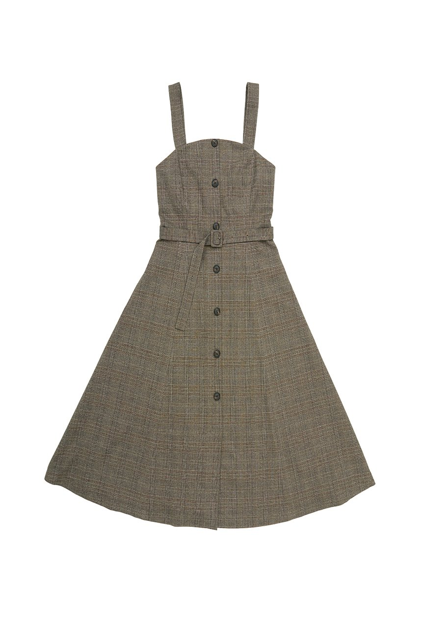 HAPJEONG Tube top dress (Brown check)