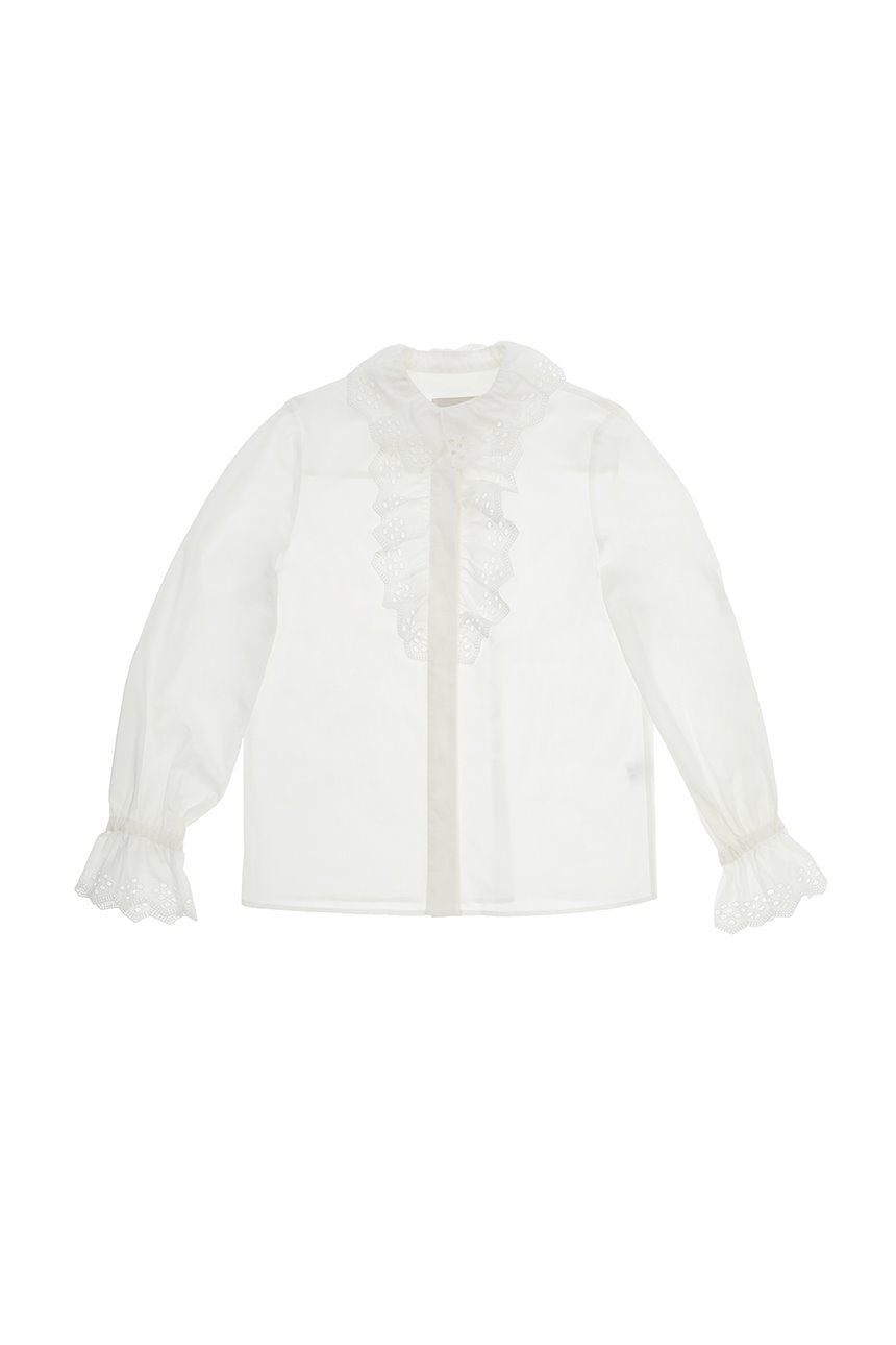 [앤유X노필터TV][한지민착용]APGUJEONG Ruffled eyelet collar blouse (Off white)